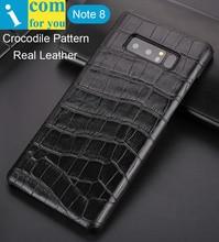 Крокодил Аллигатор шаблон чехол для Samsung Galaxy Note 8 Ретро Бизнес Элитная Пояса из натуральной кожи протектор Note8