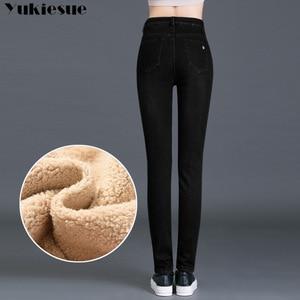 Image 4 - חורף ג ינס נקבה גבוהה מותן ינס סקיני חם עבה ג ינס לנשים Mujer בתוספת גודל קטיפה מכנסיים למתוח Pantalon Femme