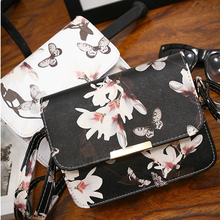 2017 New Women's Fashion Butterfly Flower Printing Shoulder Mini Bags PU Leather Tote Purse Handbag Package Free Shipping P349