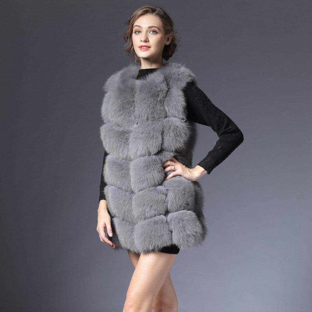 Nouvelle Vraie Fourrure Gilet De Femmes D'hiver noir Gris Renard Gilet Gilet naturel Gilet 70 cm de Fourrure naturelle Réel pour femelle femmes DHL