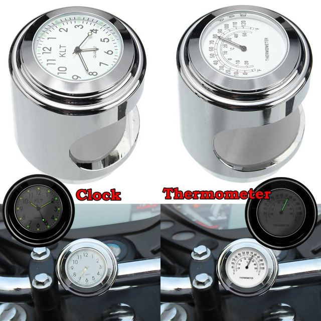 Universal 7/8'' 1'' Motorcycle Handlebar White Dial Clock / Temp Thermometer For Harley chopper/cruiser Waterproof