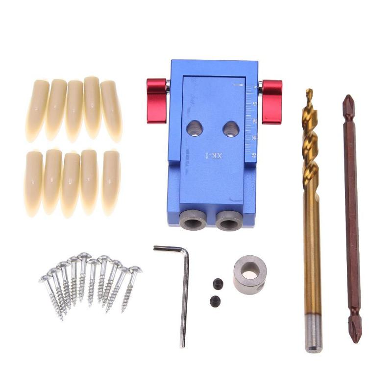 Mini Style Hole Jig Kit System For Wood Working & Joinery + Step Drill Bit & Accessories Carpentry Dowel Woodworking Tool Set autotoolhome pocket hole jig system ph2 screwdriver bit 9 5mm step drill guide for kreg wood doweling joinery tools accessories