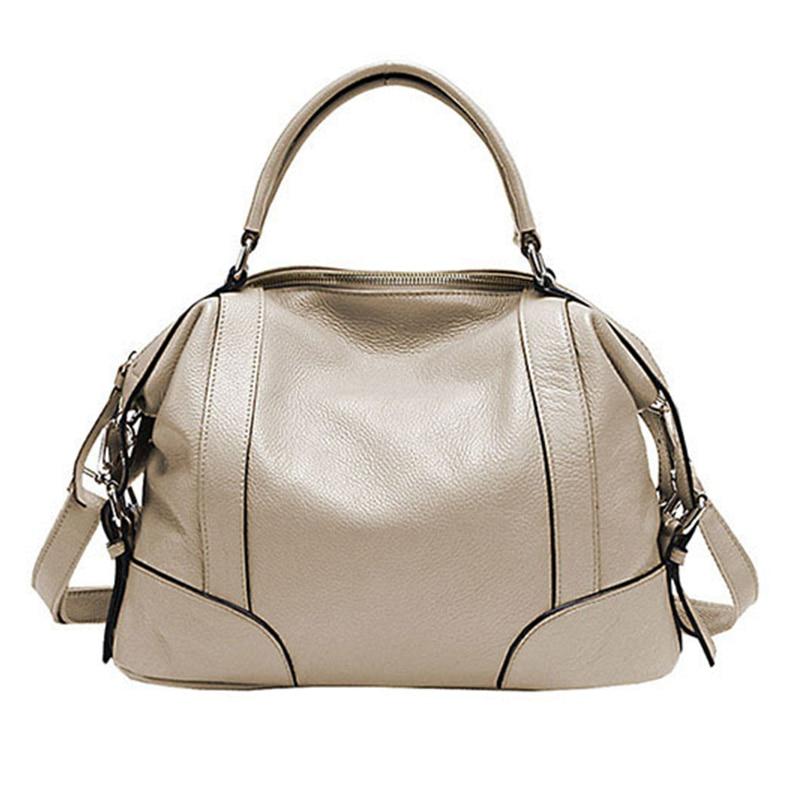 Pasta 2 tamaños bolsos de mano a la moda para mujeres nuevos bolsos clásicos de ocio bolsos de hombro de cuero de vaca genuino de mujer bolsa femenina-in Cubos from Maletas y bolsas    3