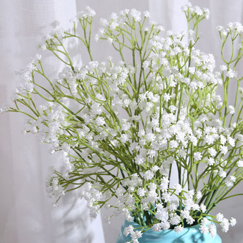 White Artificial Decorative Flowers For Wedding Plastic Home Decoration Gypsophila Bed Room Decor In Dried