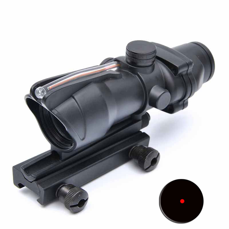 Tactical Trijicon ACOG 1X32 Rifle Scope RED Dot Sight Optics Riflescope With Real Fiber Scope 20mm Picatinny Weaver Rail new tactical g36 3 5x scope w top 20mm picatinny rail carry handle
