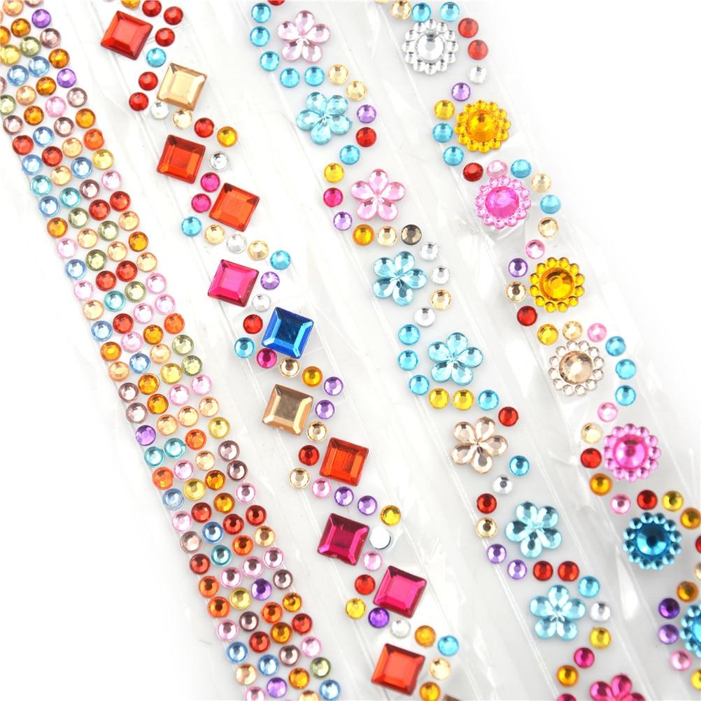 4 Teile/los Kristall Diamant Aufkleber Band Blätter Diy Hand Handwerk Materialien Sammelalbum Album Foto Rahmen Dekoration Senility VerzöGern