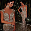 Stunning Evening Gown Sexy Cap Sleeve Champagne Prom Dresses Mermaid Silver Beading Sequins Appliques 2016 Evening Party Gown