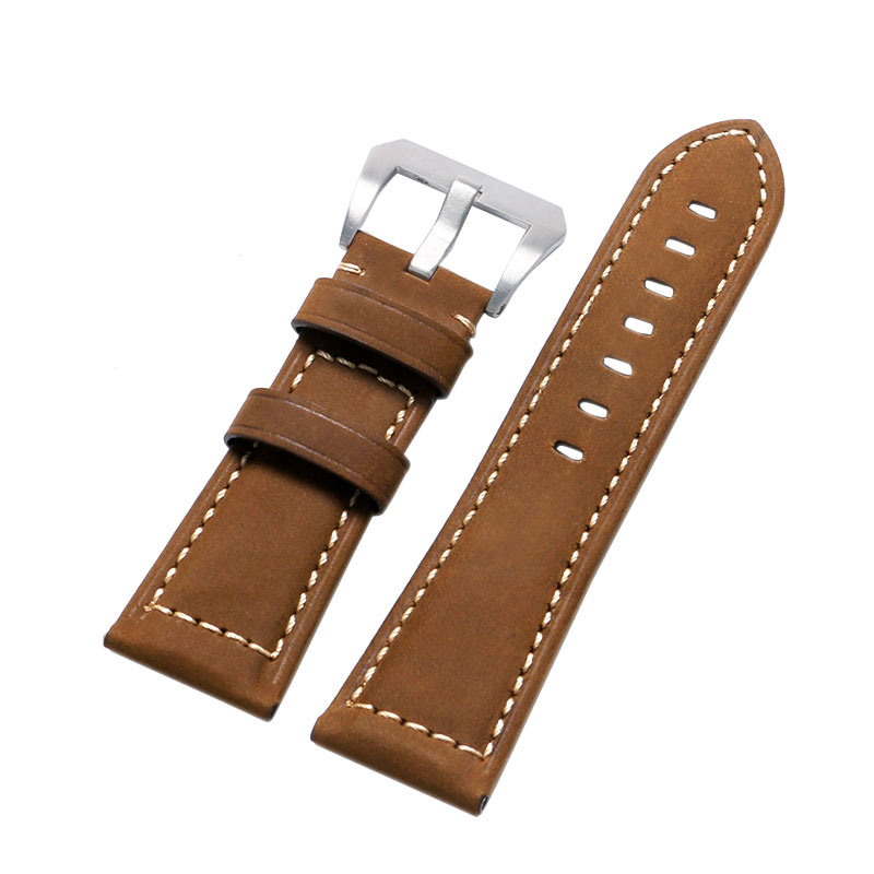 1PCS 24MM 26MM Genuine Leather Crazy Horse Genuine Leather Watch Band Watch Strap for Men Sport Watch High Quality eache 26mm hand made crazy horse genuine leather replacement watch band strap fit for garmin fenix 3 silver black buckle