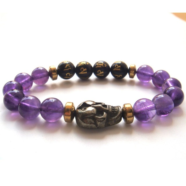2017 1PC Magenta Blue Purple Agate Amethyst Pyrite Skull Tibetan Agate 6 Syllable Mantra Beads Stretch Bracelet Gift Box