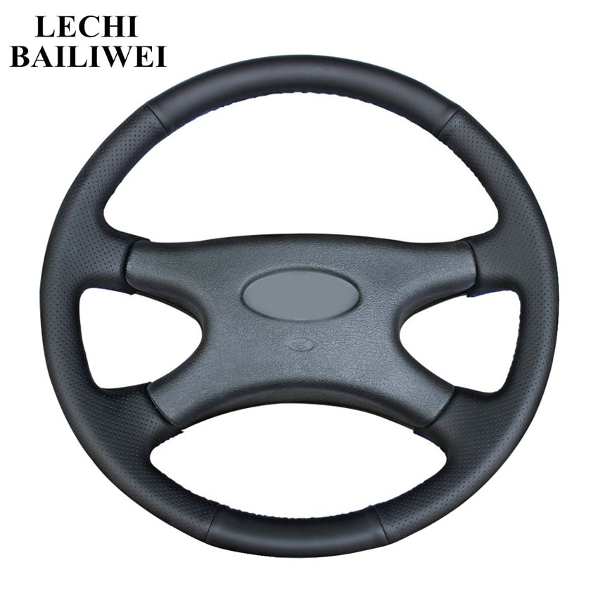 DIY Hand-stitched Steering Wheel Cover Black Artificial Leather Car Steering Wheel Cover for <font><b>Lada</b></font> Niva 2006-2017 <font><b>2107</b></font> 1997-2012 image