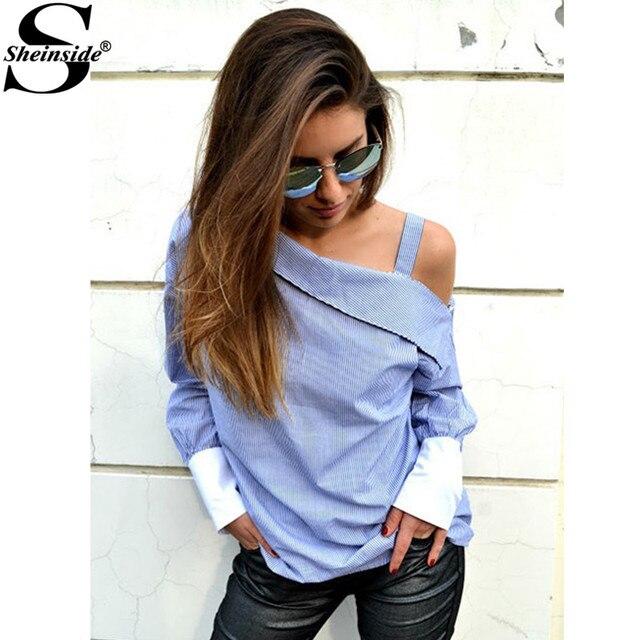 Sheinside Blue Striped Fold Over Asymmetric Shoulder Contrast Cuff Shirt Ladies Long Sleeve Buttons Blouse