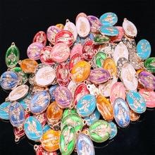 Colgante de corazón MEDALLA DE santo para brazalete, oro azul, María, regalo Religioso Católico, Virgen María sagrada, 100 piezas