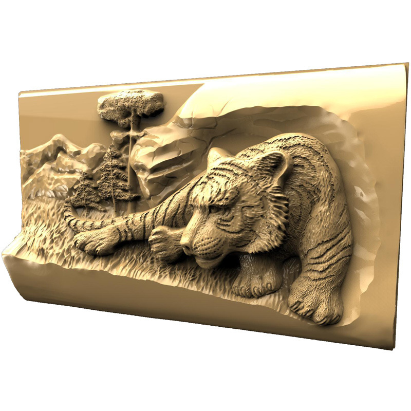 Tiger 3d model STL relief for cnc STL format 3d Relief Model STL Router 3 axis Engraver ArtCam 3d model relief for cnc in stl file format animals and birds 2