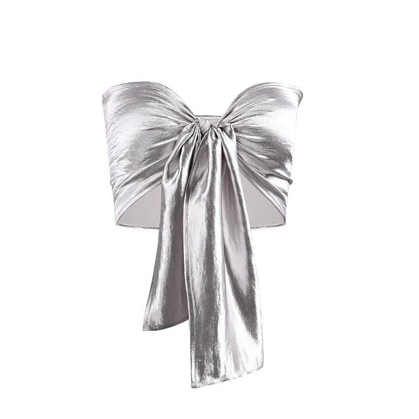 2c3da53664 Women Sexy Bow Tie Bandeau Top Front Tie Up Tube Top Clubwear Crop ...