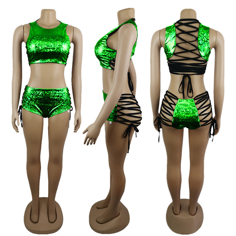 Festival Queen Holographic Crop Top and Hot Shorts Women 2 Piece Sets Sexy Lace Up Festival Party Rave Clothing Two Piece Set 11