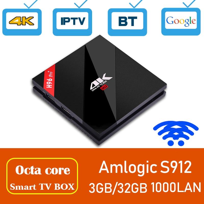 Xinways 4gb tv box android 7.1 OS H96 pro+ 4k Amlogic S912 Octa Core 2.4G/5G WIFI 3GB RAM 32GB ROM 4K HD smart pro plus tv box h96 pro plus tv box smart android 7 1 s912 bt4 1 octa core 4k 3gb 32gb 1000lan 2 4g 5 0g wifi media player pk x92 tx9 pro
