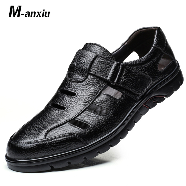 82fa7e181b8 Outdoor Summer Shoes Men s Casual Sandals Shoes Breathable Vents Soft  Bottom Comfortabe Leather Sandals Gift for Father