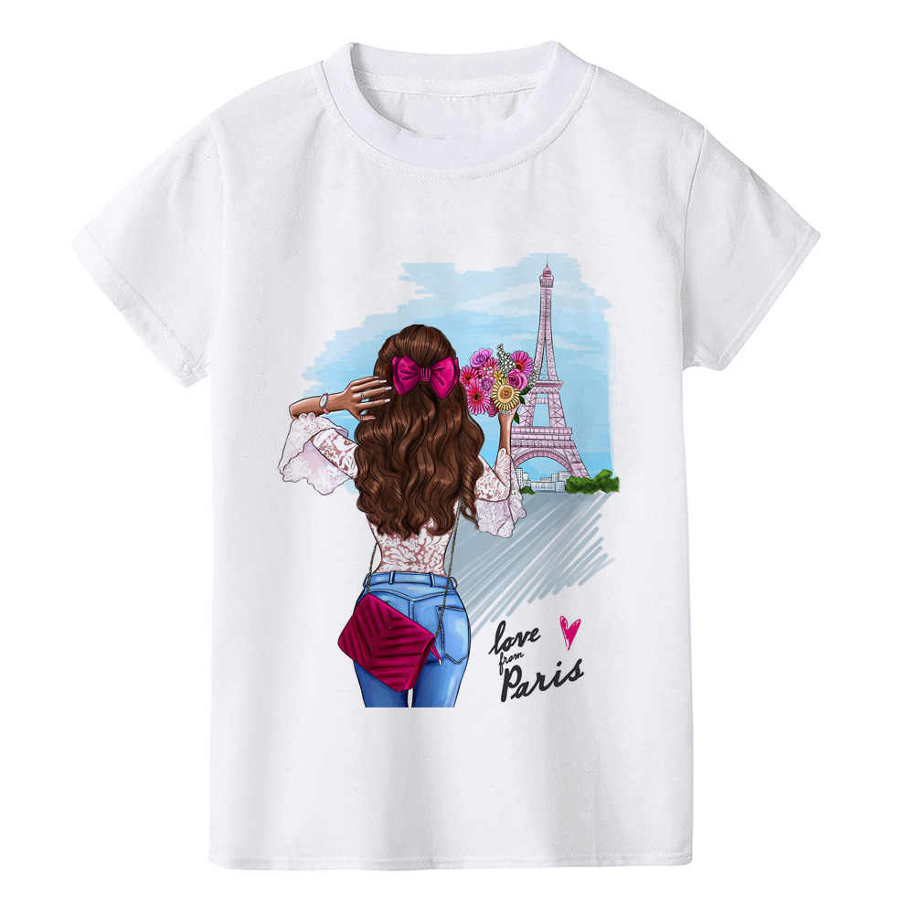 Nieuwe Mode Parijs Toren Print T Shirt Kinderen O-hals Kleding Baby T-shirt Kleding Kinderen Cool Girl Korte Mouw Zomer Tops