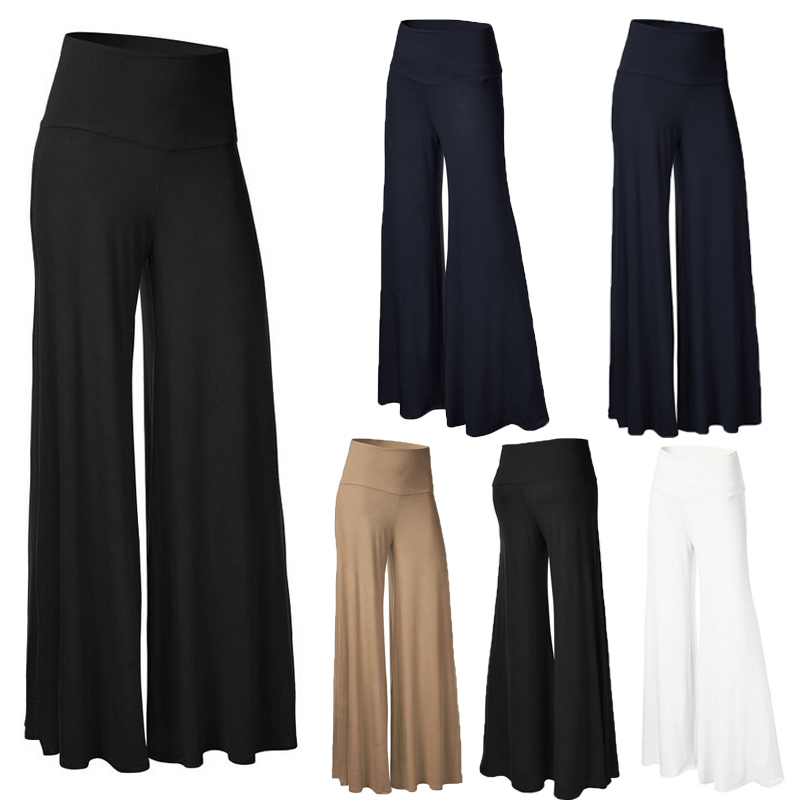 New Plus Size  Womens Plain Palazzo Wide Leg Flared Ladies Trousers Pants
