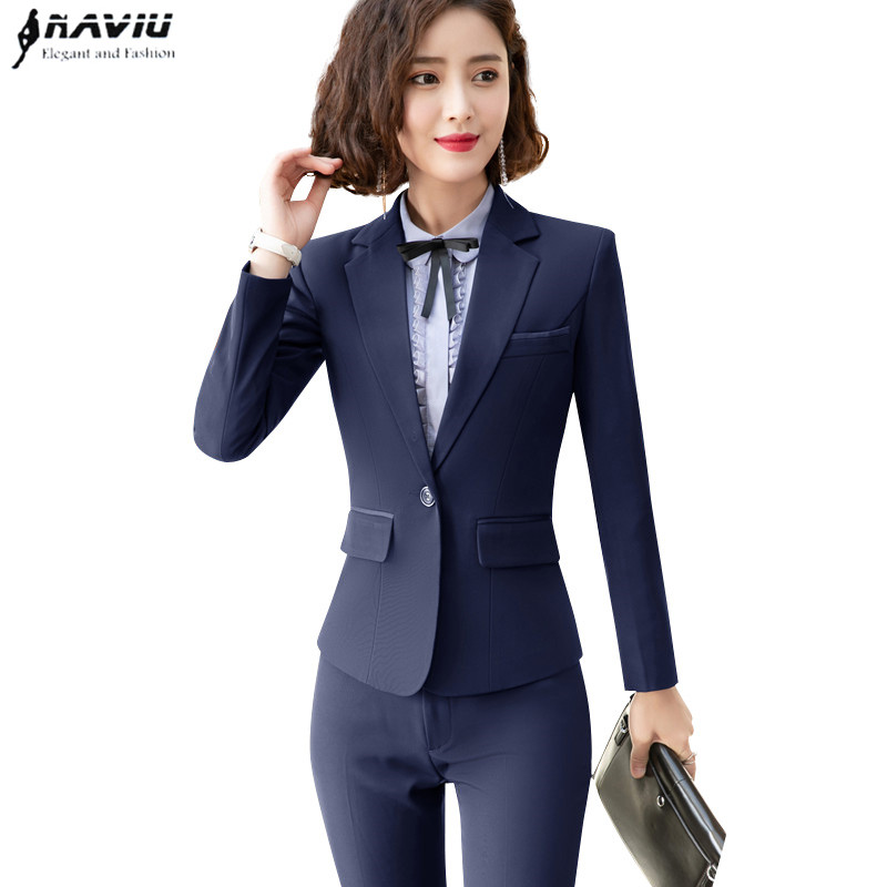 2019 New fashion elegant women pants suits two pieces set business long sleeve slim blazer and