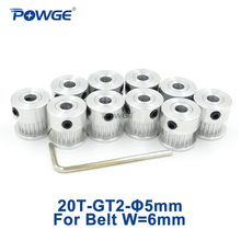 POWGE GT2 Timing Pulley 20 Teeth Bore 5mm for 2GT Open Timing belt width 6mm small backlash Positioning Accuracy 20Teeth 10pcs