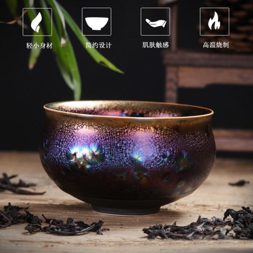 Colorful Temmoku Glaze Teacups 3