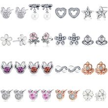 Hot Sale Luxury CZ Zircon Cartoon Mickey Minnie Stud Earrings For Women Girls Elegant Pandora Earrings Wedding Jewelry Gifts(China)