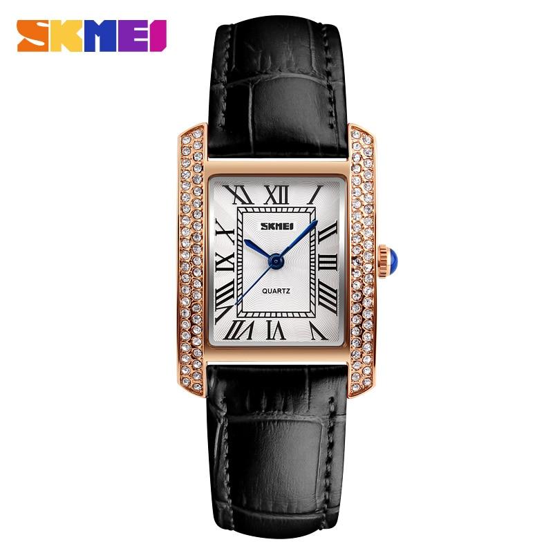 SKMEI מותג שעונים שעונים לנשים רטרו עור Relogio Feminino אופנה עמיד למים רצועה מקרית גבירותיי קוורץ שעוני יד 1281
