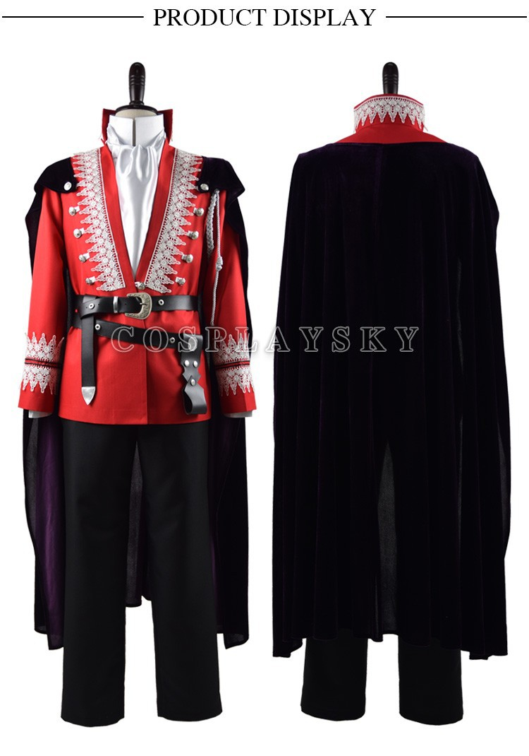 Once Upon a Time Prince Charming Red Uniform Outfit With Cloak Cosplay Costume_01