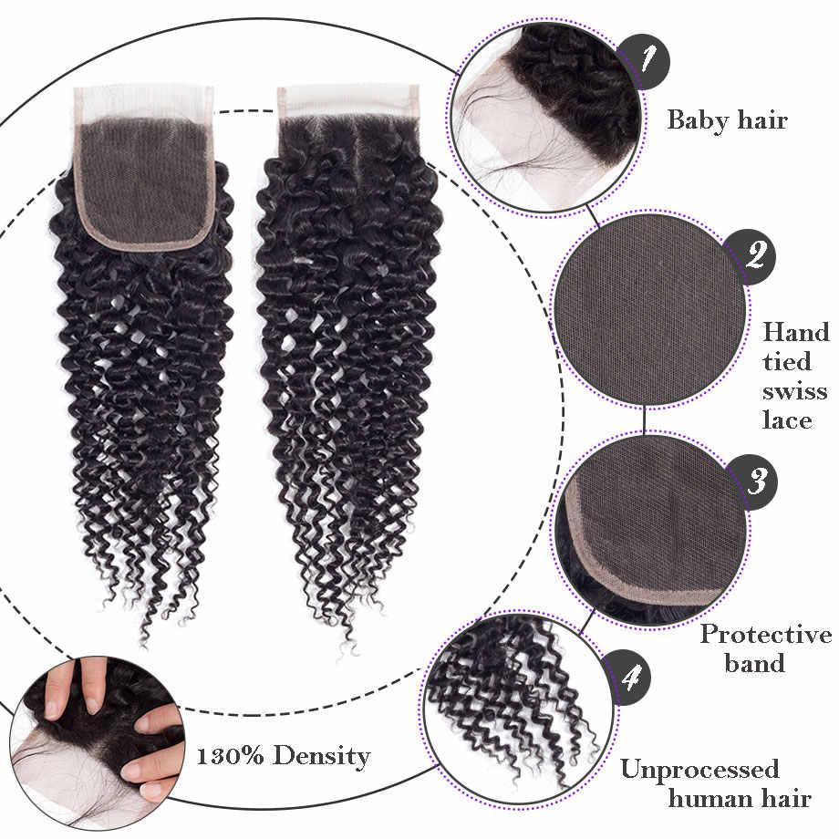 """Шикарные волосы перуанские вьющиеся волосы Кружева Закрытие 4x4 бесплатно/средний/три части 100% Remy человеческие волосы закрытие 8 """"-22"""" натуральный цвет"""