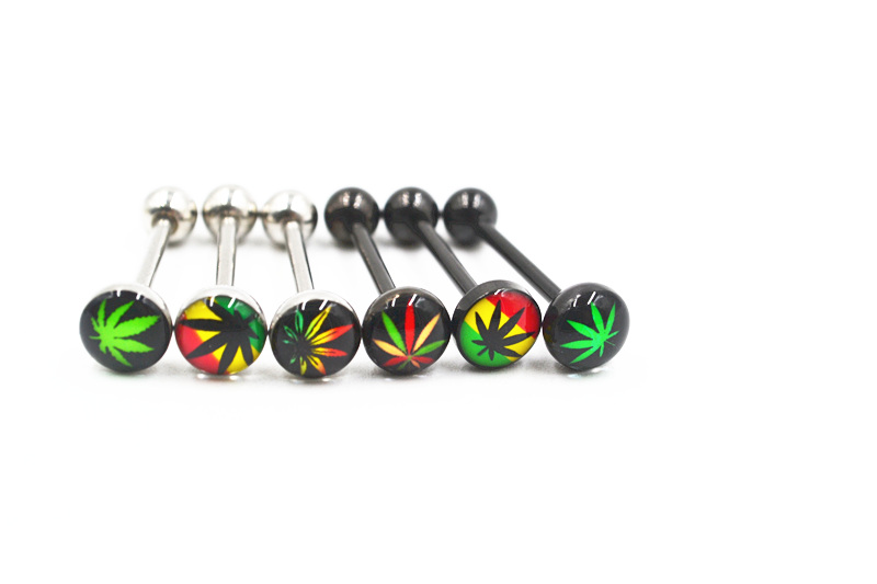 """14g 5//8/"""" Pot Leaf Marijuana Tongue Barbell Surgical Steel WITH FREE RETAINER"""