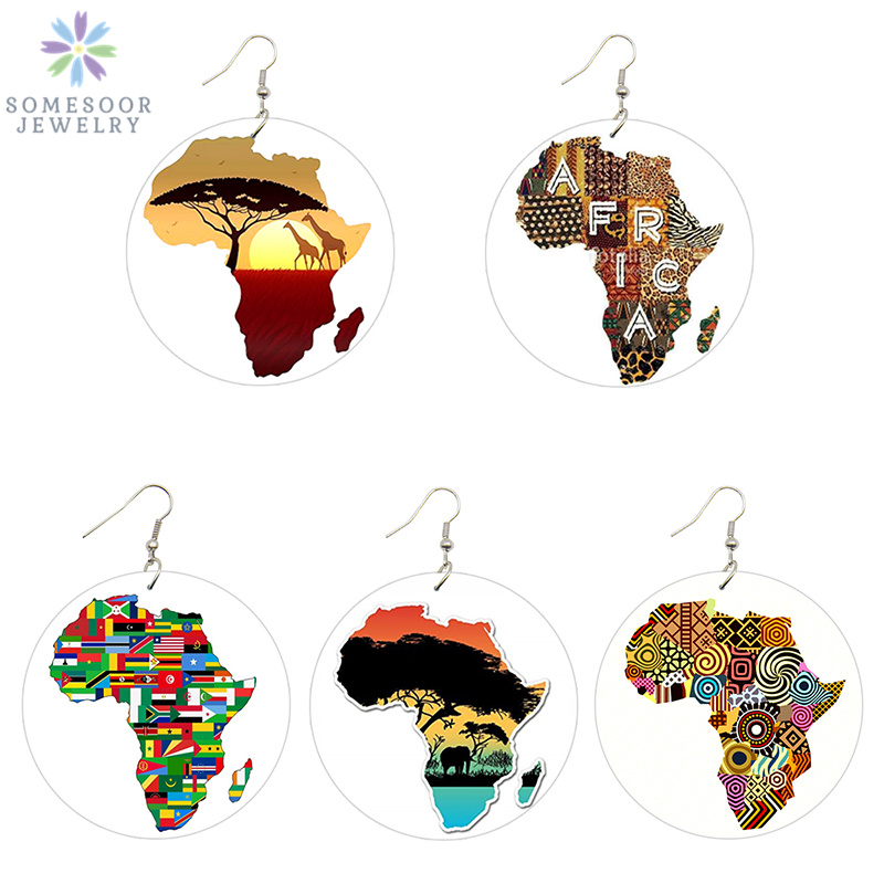 SOMESOOR African Map Natural Wood Drop Earrings Jewelry United Countries Eco Animal Afro Ethnic Artistic Painted Women Jewelry image