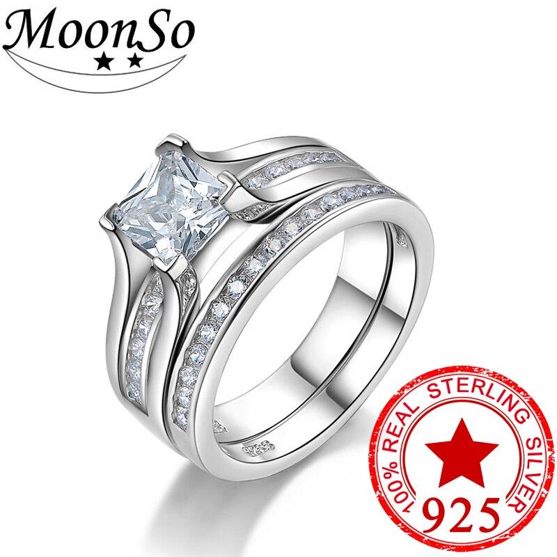 Moonso Real 925 Sterling Silver AAA CZ Princess Cut
