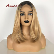 Ombre Blonde Short Straight Synthetic Lace Front Wigs Heat Resistant Short Bob Wigs For Women 180 Density(China)