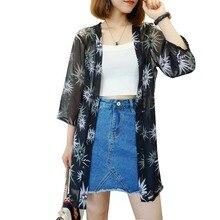 New Women Blouses Printed Cardigan V neck three quarter Loose Chiffon Blouse Kimono Plus Size