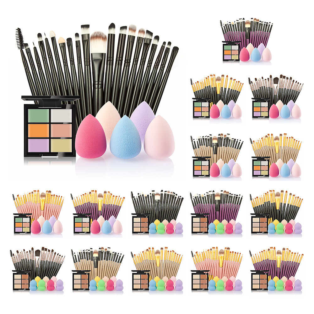 New Brand Makeup Brushes Set Hot Sale 6 Colors Concealer + 20 Makeup Brushes + 1 Sponge Puff Hot combination Beauty Make Up Set 15 color concealer platte 24pcs pro makeup cosmetic brushes sponge puff make up set 2017 new sale