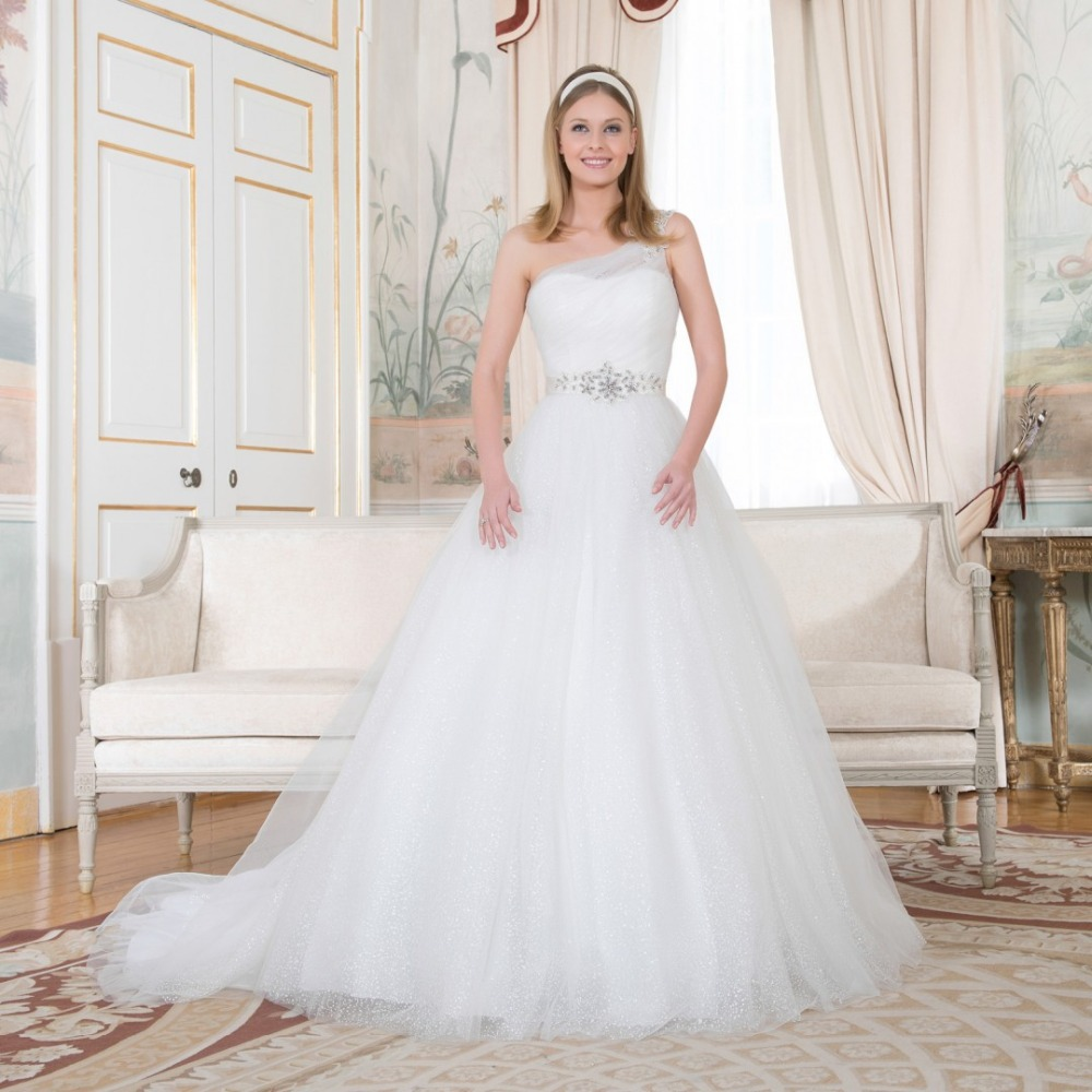 one shoulder ball gown wedding dresses