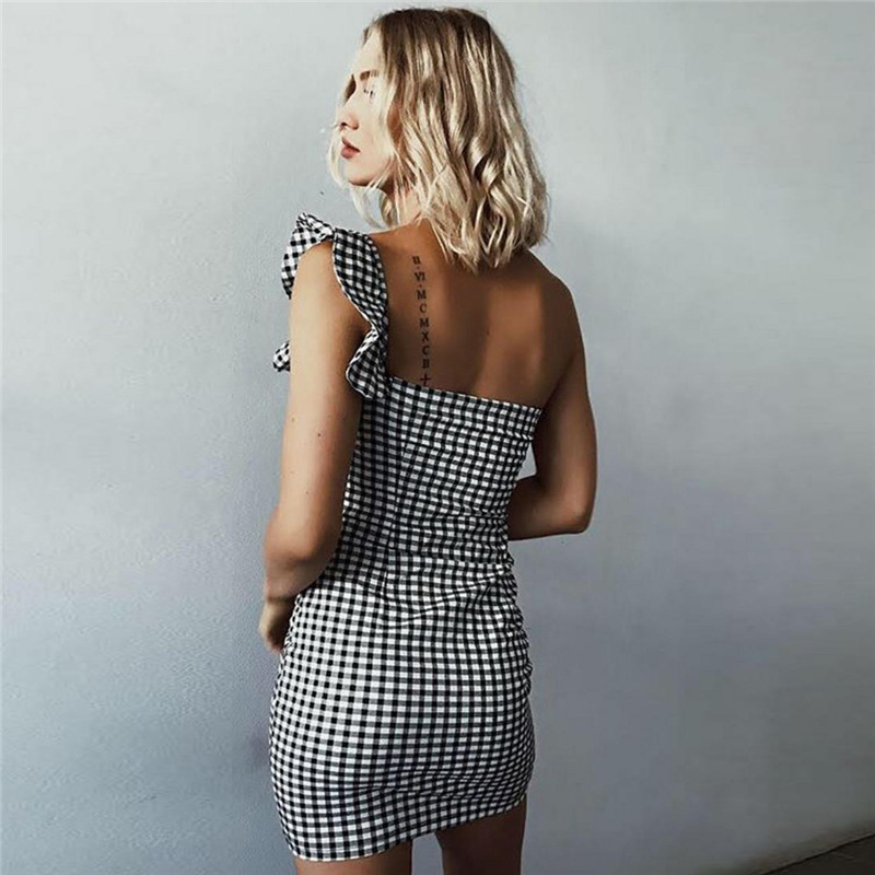 JSMY 2019 New Summer Fashion Women Black And White Plaid Irregular Ruffle Off Shoulder Pack Hip Dress in Dresses from Women 39 s Clothing