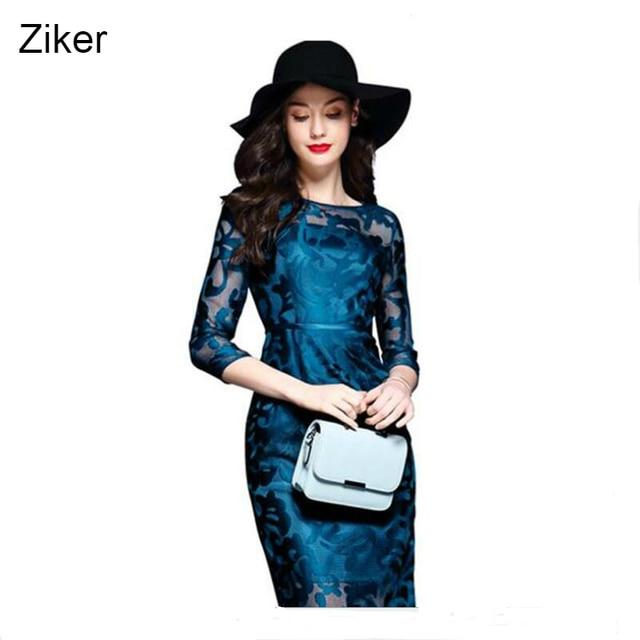 Ziker new 2017 thời trang nữ dress lưới hollow ra slim bodycon công việc thêu dress o-cổ three quý tay áo giản dị dress