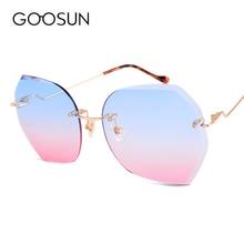 Фотография GOOSUN 2018 New Fashion Rimless Sunglasses Women UV400 Sunglass Gradient Lens High Quality Sun Glasses Brand Designer oculos