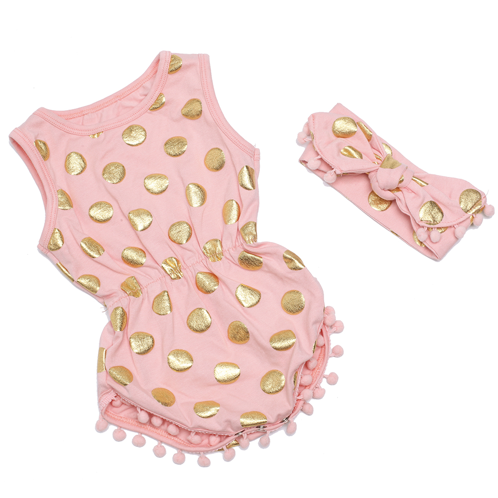 503489968 Pom Pom Play Romper,peach and gold polka dots outfit,birthday romper  set,coral baby romper for girls,baby jumpsuit