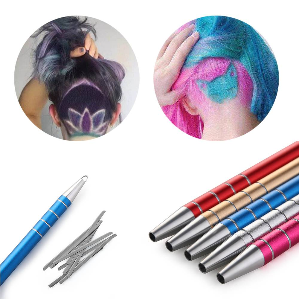 Romatpretty 1Pc Hair Styling Hairstyle Engraved Pen+10Pcs Blades Hair Trimmers Eyebrows Shaving Salon DIY Hair Styling Accessory