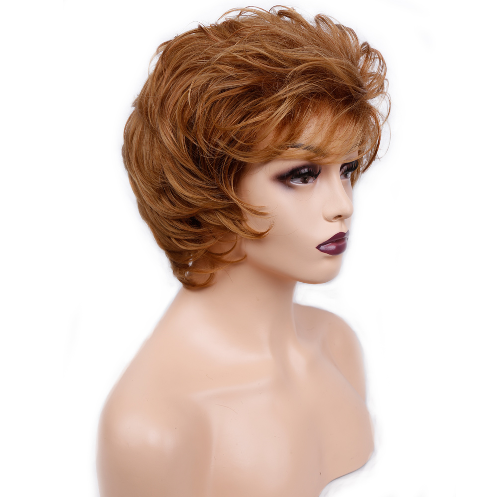Amir Short Wigs For Women Synthetic Wave Hair Wig With Bang Brown And Blonde Ombre Wig