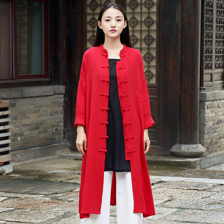 Vintage Chinese Style Cotton Linen Cardigan Open Stitch Coat Long Sleeve Single Breasted Side Split Robe Women Blouses Shirts