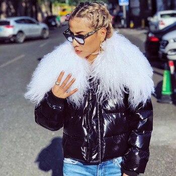 Plumón de pato 2019 marca de moda grande natural de piel de cabra chaquetas de invierno de gran calidad corto cálido abrigo wq444