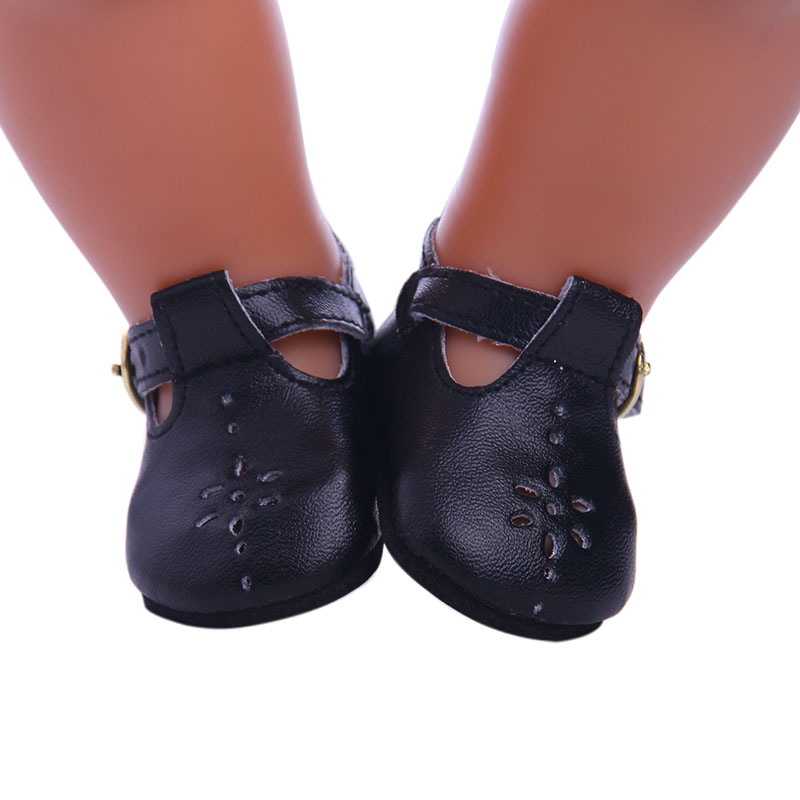 Black leather casual shoes for 43cm Baby Born zapf Doll, Children the best Christmas gift