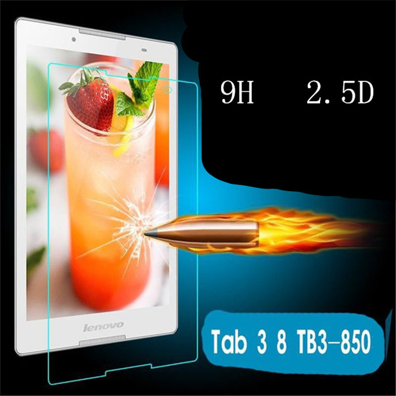 50Pcs Tempered Glass Screen Protector Film for Lenovo Tab3 Tab 3 8.0 850 TB3 850M TB 850M (TAB3 8) 8 Tablet + Dust Stickers