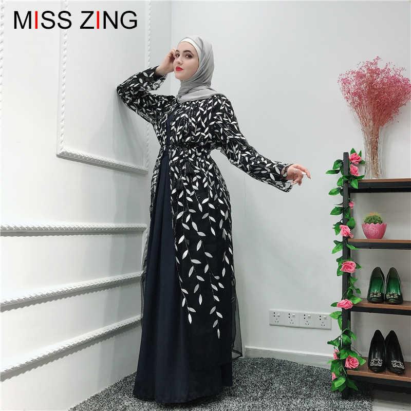 女性イスラム教徒のアバヤレースメッシュカーディガン刺繍ドレスチュニック着物ロングローブ Jubah 中東ラマダンアラブイスラム祈り新