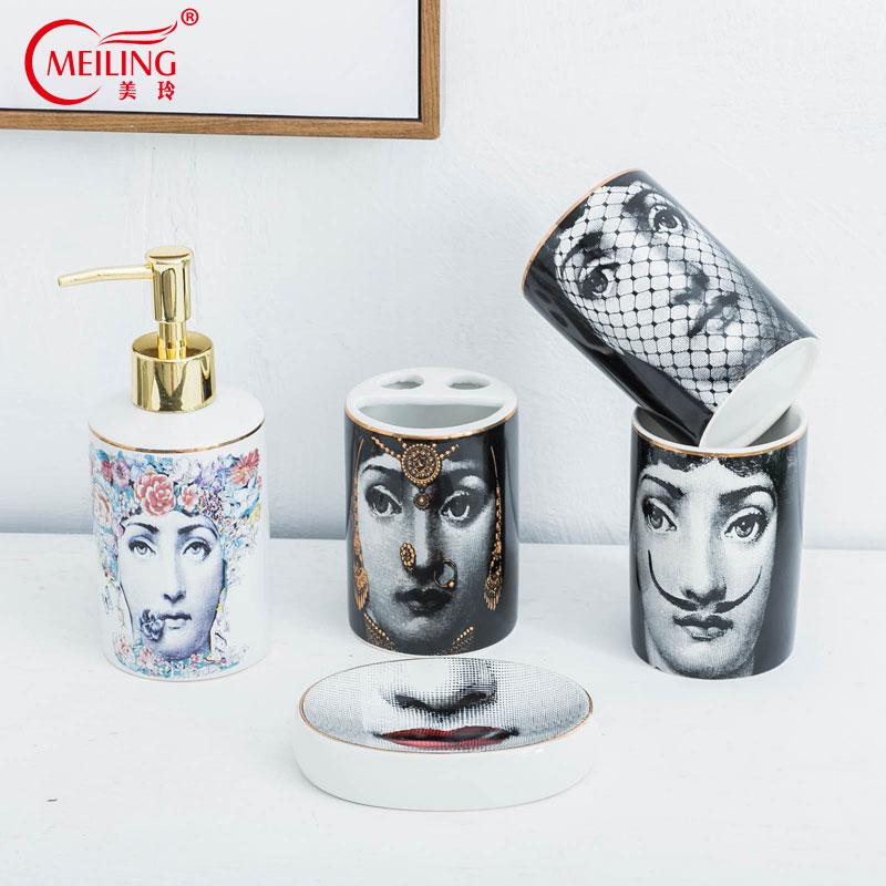 Popular Fornasetti Bathroom Sets 5PCS Ceramic Decoration Accessories Soap Dispenser Toothbrush Holder Cup Toilet Storage Box