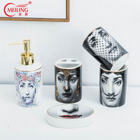 Popular Fornasetti Bathroom Sets 5PCS Ceramic Decoration Accessories Soap Dispenser Toothbrush Holder Cup Toilet Storage Box Hot